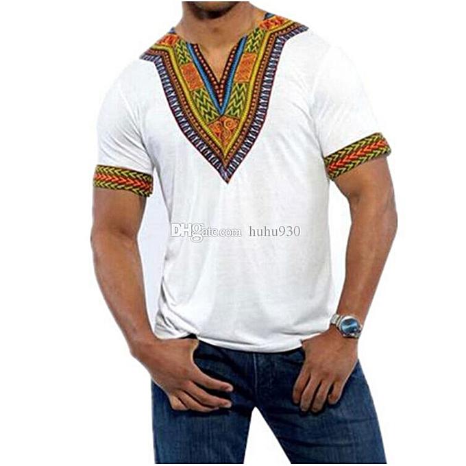 African dashiki  print  T-shirt - White