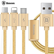 Baseus Portman Series 3 In 1 Charge Cable 1.2M Type-C Data Transfer Quick Charging Nylon Braided Cord