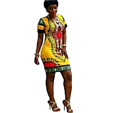Women Traditional African Print Dashiki Bodycon Short Sleeve Dress
