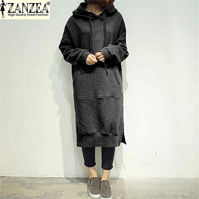 75968409c ZANZEA Women Winter Midi Sweatshirt Dress Loose Long Sleeve Fleece Lined  Casual Split Hem Long Hooded
