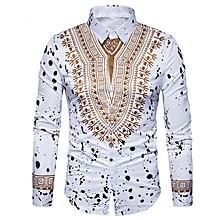 Men's Casual Print Shirts Dashiki 3D Printing Ethnic Geometric Splatter Paint Long Sleeve Shirt