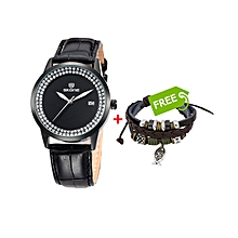 Black Ladies leather Watch With Black Dial +FREE Bracelet
