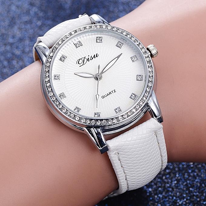 1a77e0ce0 ... DS075 Women Analog Quartz PU Leather Jewelry Watch with Artificial  Diamonds- White