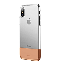Baseus Soft and Hard Mosaic Combination TPU + PC Full Protective Case for iPhone XS(Gold)