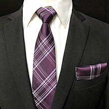 Mens Polyester Business Professional Woven Classic Check Dress Stripe Plaid Ties with Pocket Towel