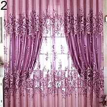 Home Door Window Balcony Modern Luxury Flower Printed Sheer Tulle Voile Curtain-Purple.,