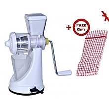 Manual Fruit and Vegetable Juicer - White + FREE Gift Kitchen Towel