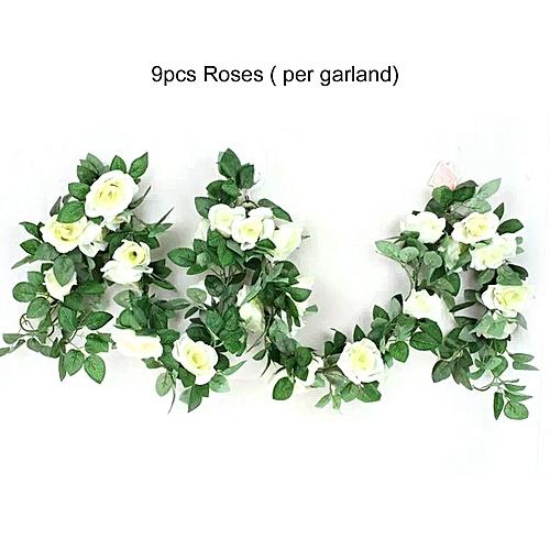 Buy Generic Artificial Rose Flower Vine Green Leaf Hanging Garland