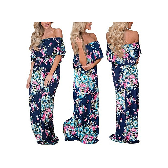 8c786db5971f5 Hiaojbk Store Women Summer Floral Print Off Shoulder Casual Maxi Dress  Floral Dress-Blue