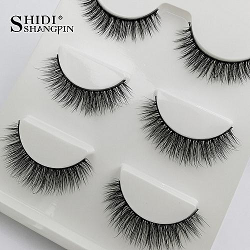 c1cc703a878 Generic SHIDISHANGPIN 3 pairs false eyelashes natural long 3d mink  eyelashes hand made mink lashes full strip lashes makeup false lashes(3D -X24)