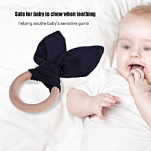 Baby Infant Bunney Ears Teething Ring Teether Natural Wooden Teething Ring Lovely Bunny Rabbit Ears Teether Toy