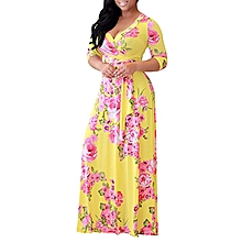 Plus Size Floral Printed Party Maxi Dress Ankara Gown Style-Yellow