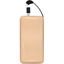 Cable-in Power Bank, portable Slim Powerbank -Gold