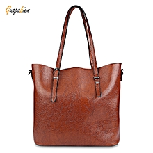 Guapabien Classic Pure Color PU Waterproof Women Convertible Shopper Bag