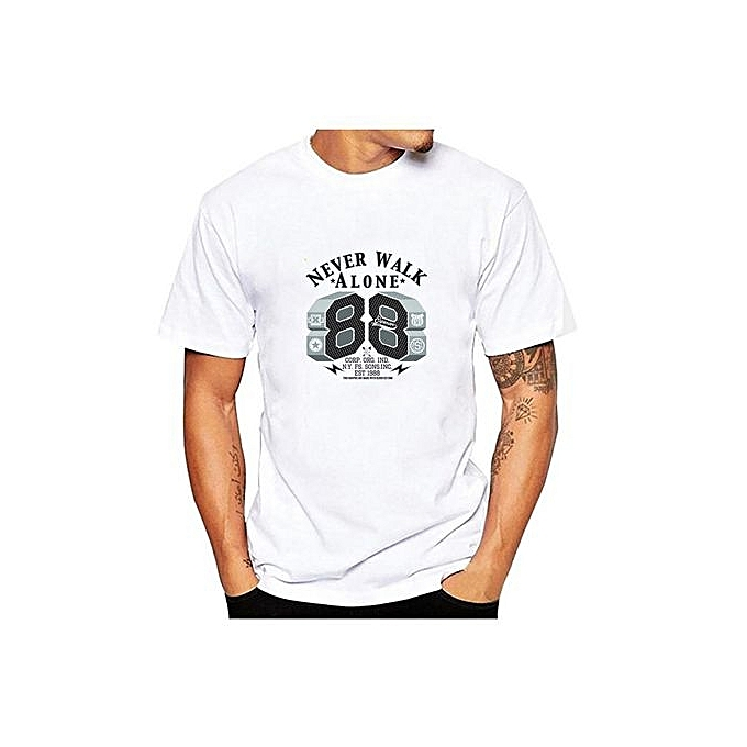 Summer Men's Tops Personality Numbers Printed Cotton T-shirt Graphic Tee (Black )