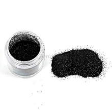 Nail art glitter powder, black colour in a jar