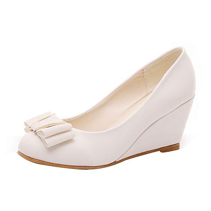 Spring Summer Wedge Heel Shoes Platform Bow Tie Round Toe Ladies Shoes