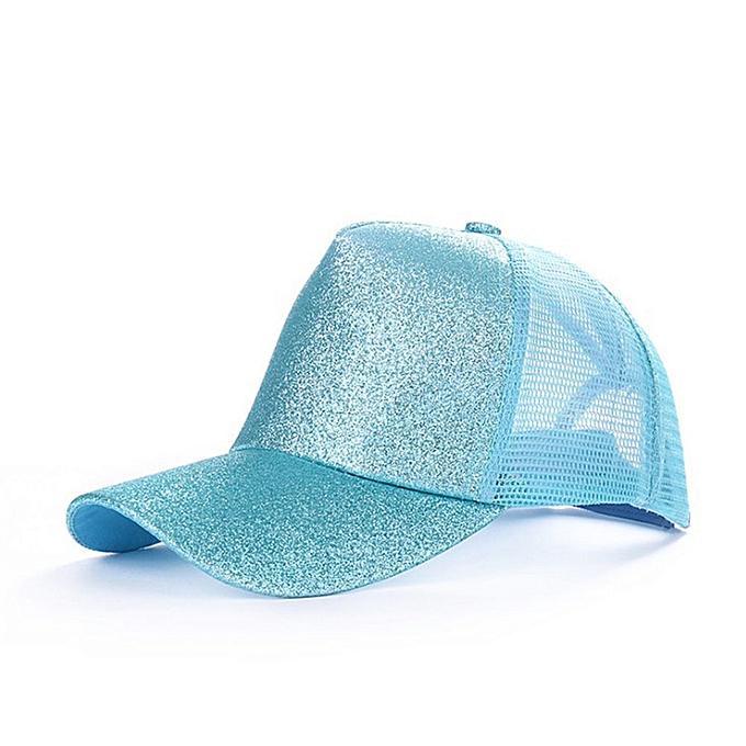f62a05195 New Glitter Ponytail Baseball Caps Sequins Shining High Quality Fashion  Womens Messy Bun Adjustable Snapback Hip Hop Hat(glitter blue)