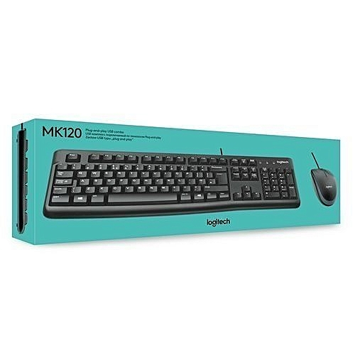 Mk120 - USB Wired Keyboard and Mouse - Black