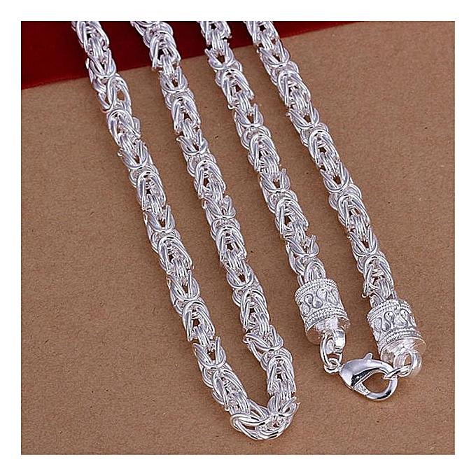 8b65f95fc8f20 Olivaren Jewellery New Fashion 925 Silver Unique Design Woman Mens Necklace  -Silver