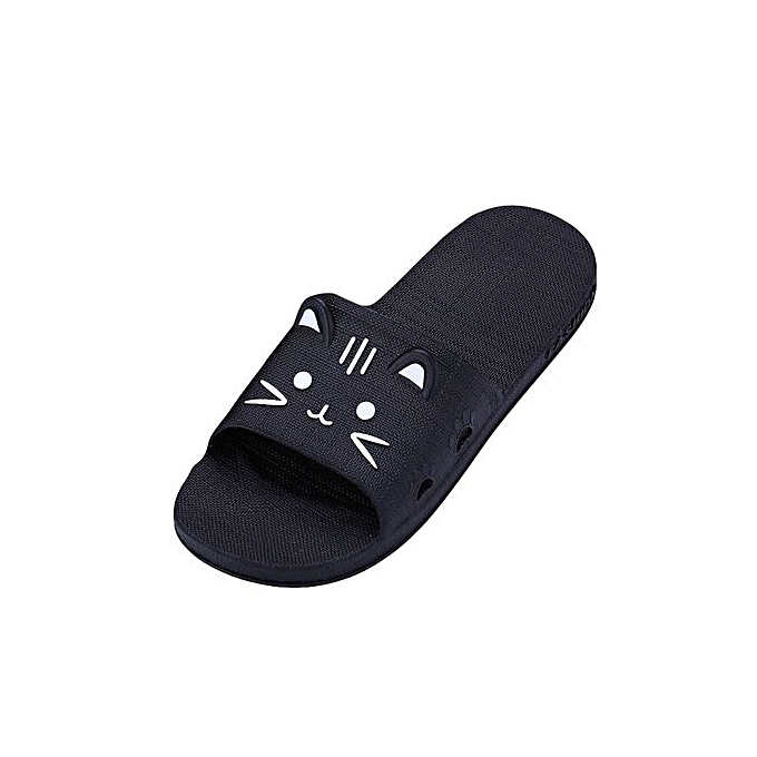 f36530f52 Jiahsyc Store Men Cartoon Cat Flat Bath Slippers Summer Sandals Indoor   Outdoor  Slippers-Gray
