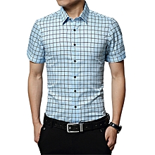 Fashion Checked Slim T-Shirt Business Formal Casual Marry Top T Shirts-Light Blue