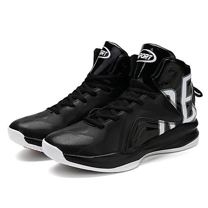 Front Lace-up High-top Basketball Shoes Men s Shock Absorption Sports Shoes  black   c60841141af7