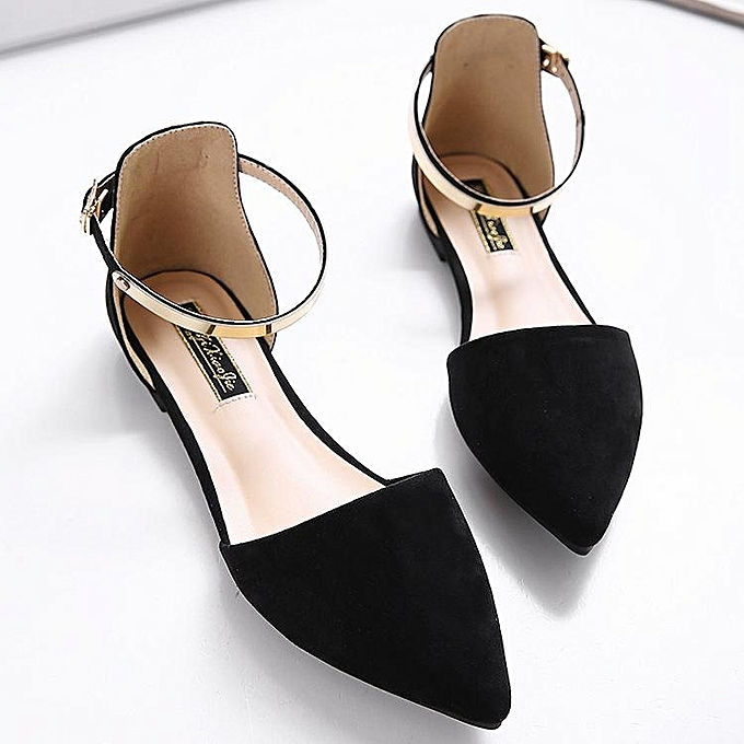 740370e4745 Women s Pointed Toe Ankle Strap Shoes Ballet Flats Spring Casual Sandals  BLACK