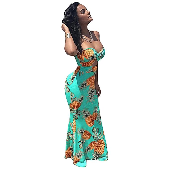 73b4799787 ... Women Tube Top Long Dress Pineapple Print Twist Front Cut Out High  Waist Casual Evening Party ...