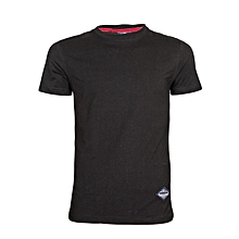 Black Round Neck Stretch T-Shirt
