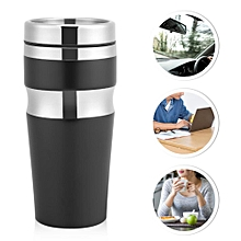 Travel Mug With Lid Water Coffee Tea Cup Bottle Gift Fashion Stainless Steel(430ML Black)