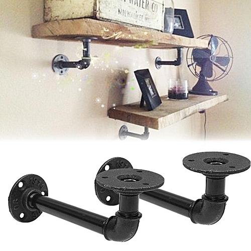 1Pcs Vintage Retro Black Iron Industrial Pipe Shelf Bracket Holder Home  Decor