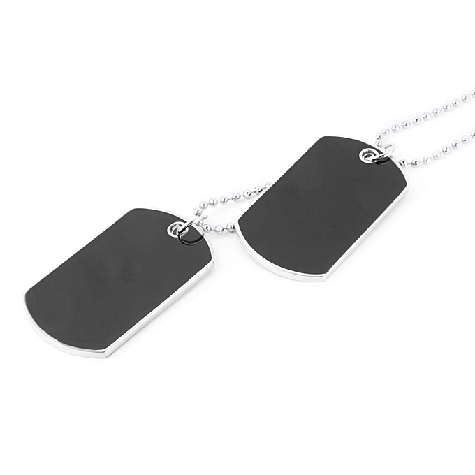 ... Army Military Style Black 2 Dog Tags Chain Double Beauty Mens Pendant Necklace ...