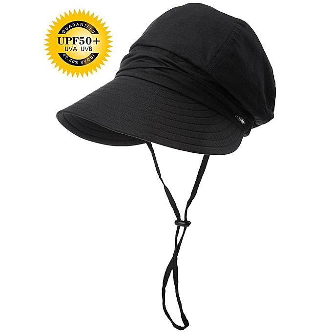 18d161795b02b4 Women Summer Sun Hat Visor Linen Bucket Caps Packable Wide Brim UPF50+ UB  Cap Windproof Chin