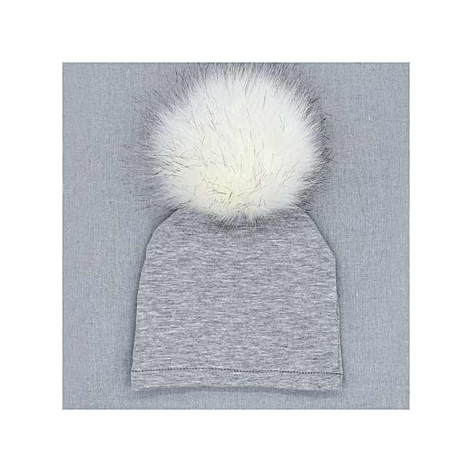 4ab456005 Hiaojbk Store Newborn Infant Baby Winter Warm Solid Hats Hairball Beanie  Cotton Cap-Gray
