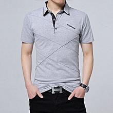 Men's Plus Cross Line Argyle Polo Shirt (Light Grey)