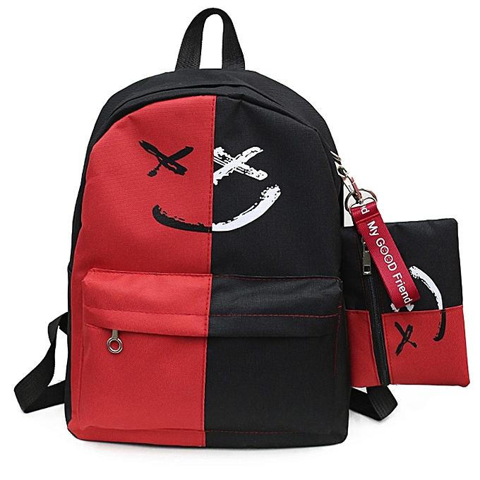huskspo 2Pcs Women Girls Smile Shoulder Bookbags School Travel Backpack+Small  Bag 6518ecf825c19