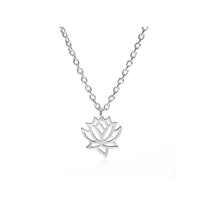 Generic Lightning Women Hollow Lotus Flower Charm Necklace Pendant
