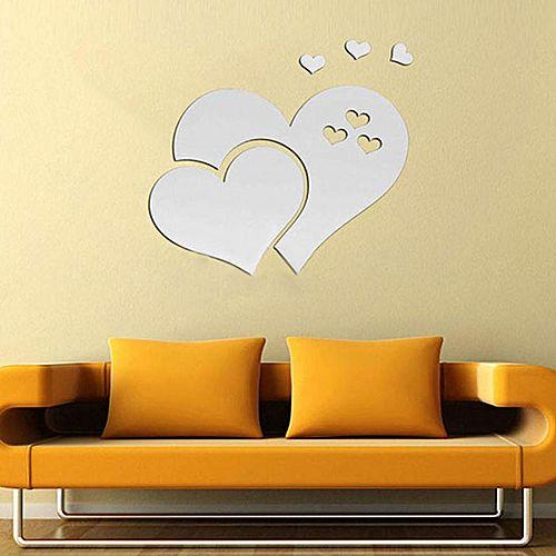 Generic 3D Mirror Wall Sticker Set Acrylic Heart-shape Mural Decals ...