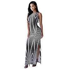 Sleeveless Strap African Print Bodycon Party Maxi Dress-Black