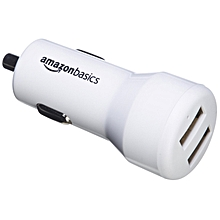 AmazonBasics Dual-Port USB Car Charger for Apple & Android Devices - 4.8 Amp/24W, White