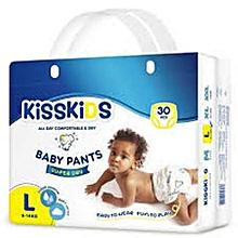 Kisskids Super Dry Disposable Pants, Size L, 9-14kgs, 30 count