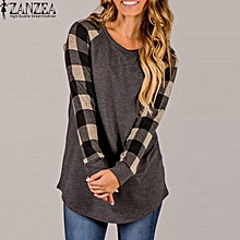 3e91d8dee3c1f5 ZANZEA Women Plaid Check Patchwork Shirt Tops Asymmetrical Loose Tunics  Blouse