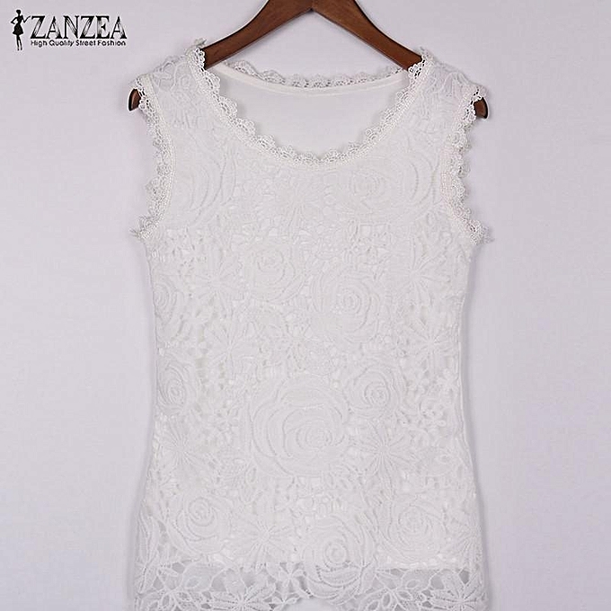 f5431ea8576 ... ZANZEA Plus Size S-4XL Womens Lace Tank Top Sleeveless T-shirt Vest  Blouse ...