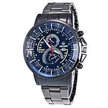 Stylish Men Motion Form Stainless Steel Sport Quartz Hour Wrist Analog Watch YE-Yellow