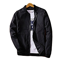 Men's Baseball Collar Pure Four Button Coat Youth Pilot Jacket Slim Large Size Casual Fashion Jacket-black