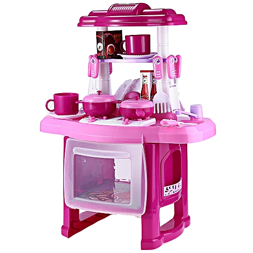 Leadsmart Kids Kitchen Cooking Pretend Role Play Toy Set With Light Sound Effect