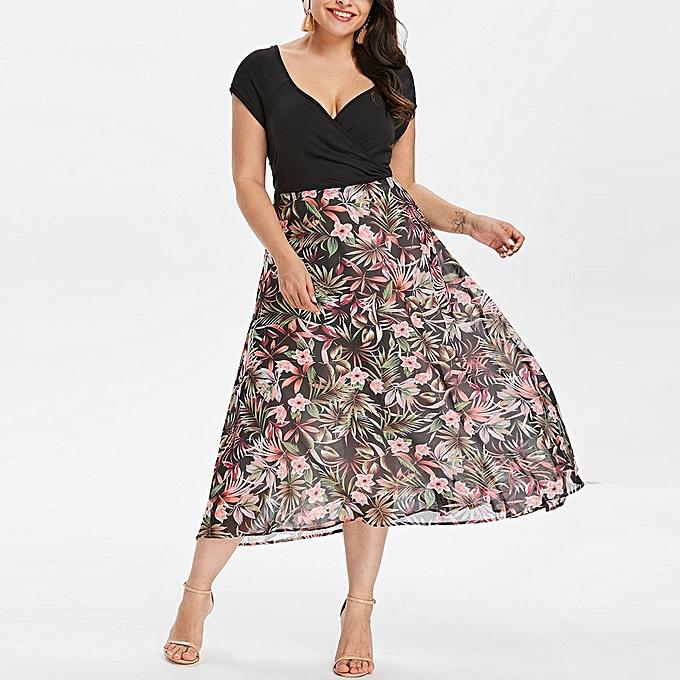 Buy Generic High End Women Midi Dresses V Neck Wrap Chiffon Short