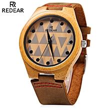 REDEAR SJ 1448 - 7 Wooden Female Quartz Watch Special Pattern Dial Leather Strap Wristwatch