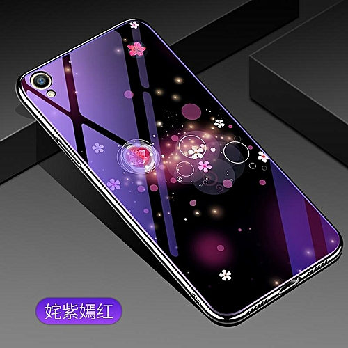 best service 1ca4f c7693 For OPPO A37 Lovely Cartoon Wolf Flower Blue Light Back Cover For OPPO A37  Anti-Explosion Tempered Glass Case Fundas 5.0inch 153908 (safflower)